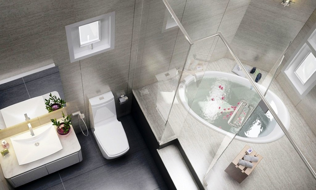 Spa-bathroom-with-oval-ceramics-bathub-and-marble-deck-with-glass-partition-together-with-minimalist-toilet-and-cabinet-also-single-bowl-washbasin-design-ideas-1024x616